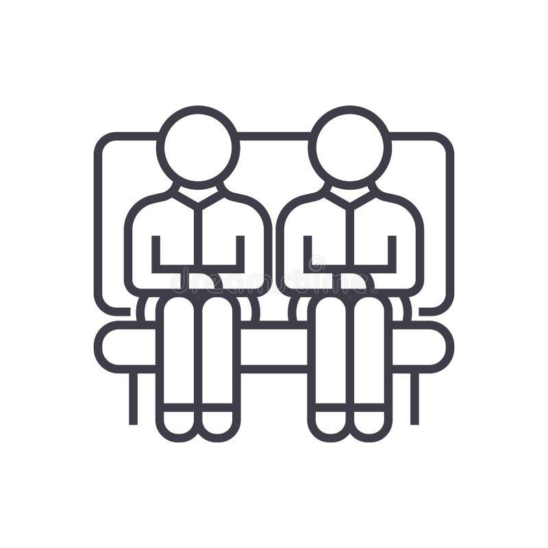 沙发传染媒介的两个人排行象,标志,在背景,编辑可能的冲程的例证 库存例证