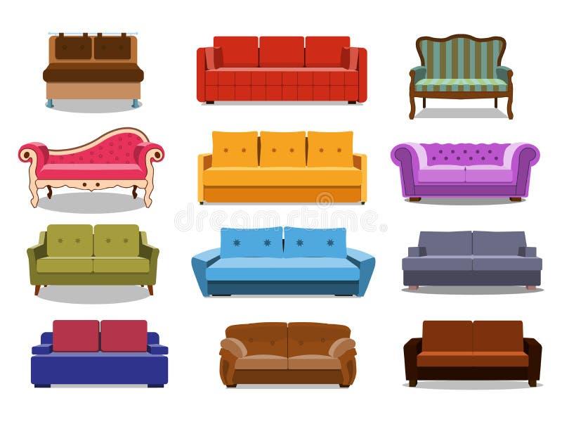 沙发和长沙发五颜六色的动画片例证传染媒介集合 室内设计的被隔绝的舒适的休息室的汇集 库存例证