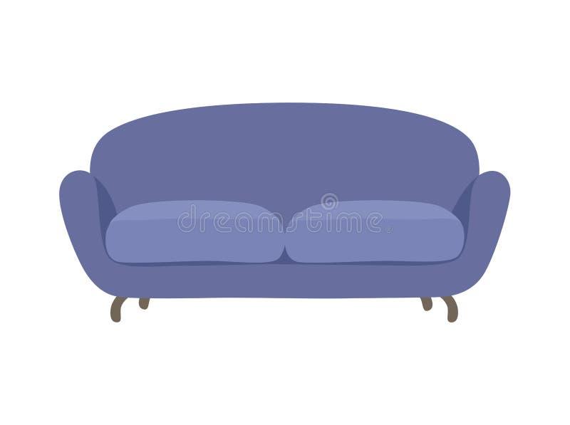 沙发和长沙发蓝色五颜六色的动画片例证传染媒介 在白色室内设计的舒适的休息室隔绝的 向量例证