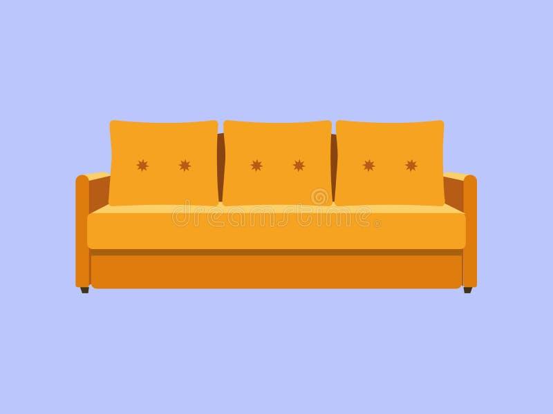 沙发和长沙发黄色五颜六色的动画片例证传染媒介 在蓝色室内设计的舒适的休息室隔绝的 皇族释放例证