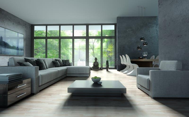 沙发在一个现代客厅 皇族释放例证