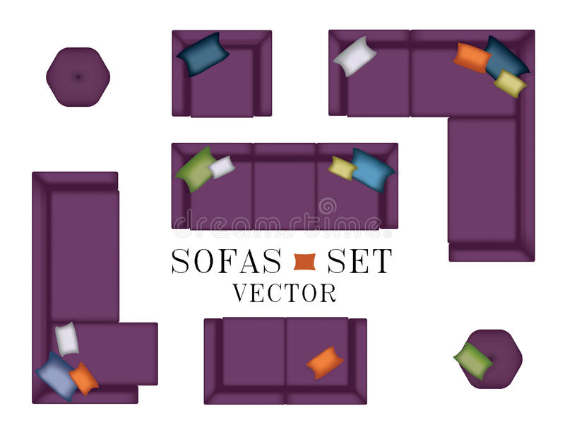 沙发扶手椅子集合 顶视图 家具,蒲团,您的室内设计的枕头 平的传染媒介例证 场面创作者 紫色C 库存例证