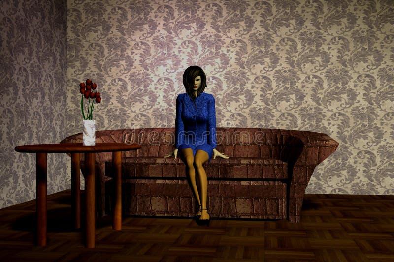 沙发的妇女 免版税库存照片