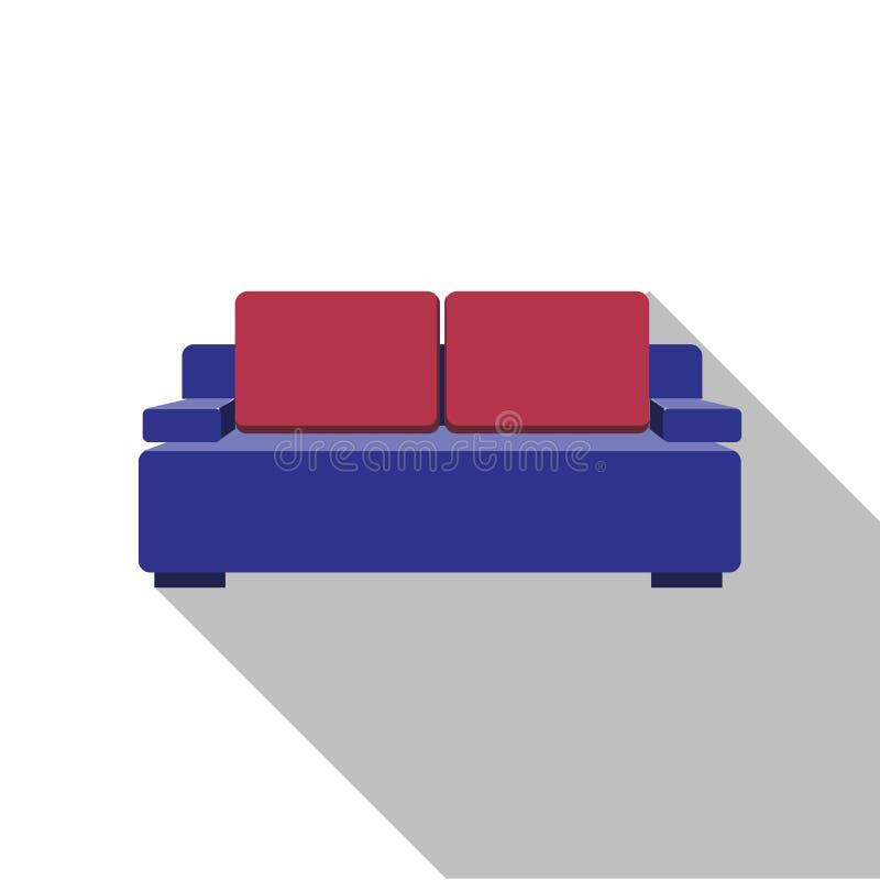 沙发象 向量 与长的阴影的平的设计 在背景隔绝的紫色长沙发 客厅的家具 皇族释放例证