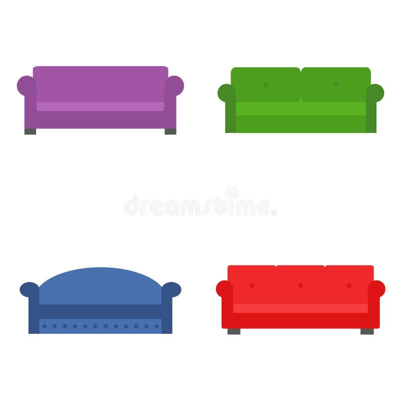 沙发集合 现代和经典长沙发集合 皇族释放例证