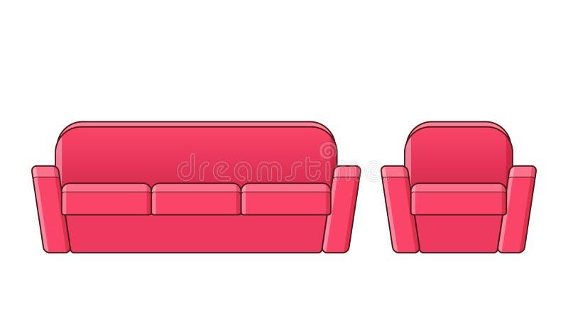 沙发,扶手椅子,长沙发象 传染媒介概述例证 皇族释放例证