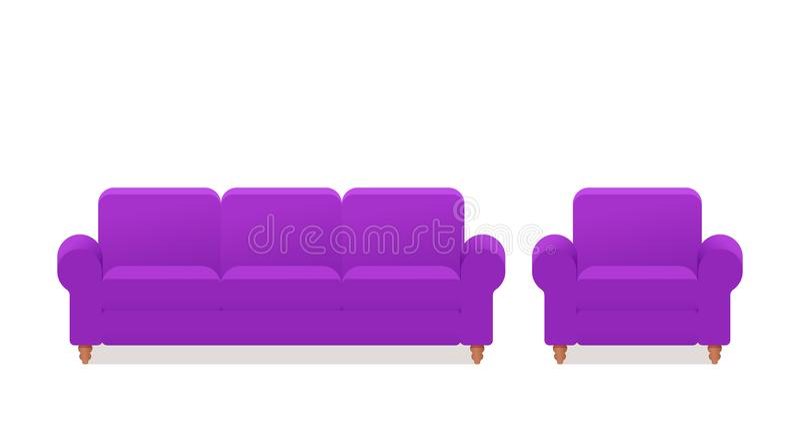沙发,扶手椅子,长沙发象 在平的设计的传染媒介例证 皇族释放例证