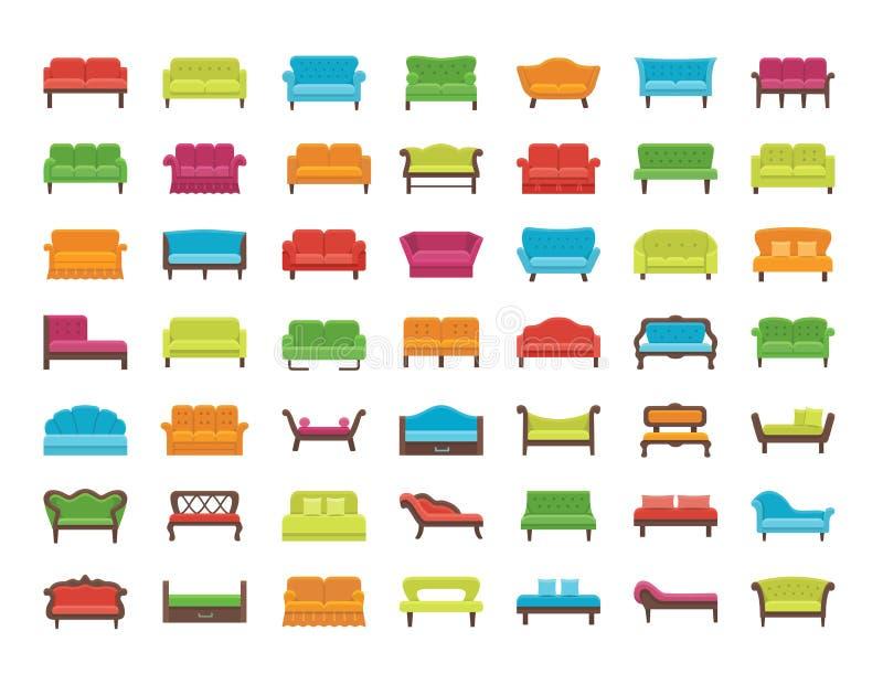 沙发&长沙发 客厅&露台家具 背景容易的图标替换影子透明向量 向量例证