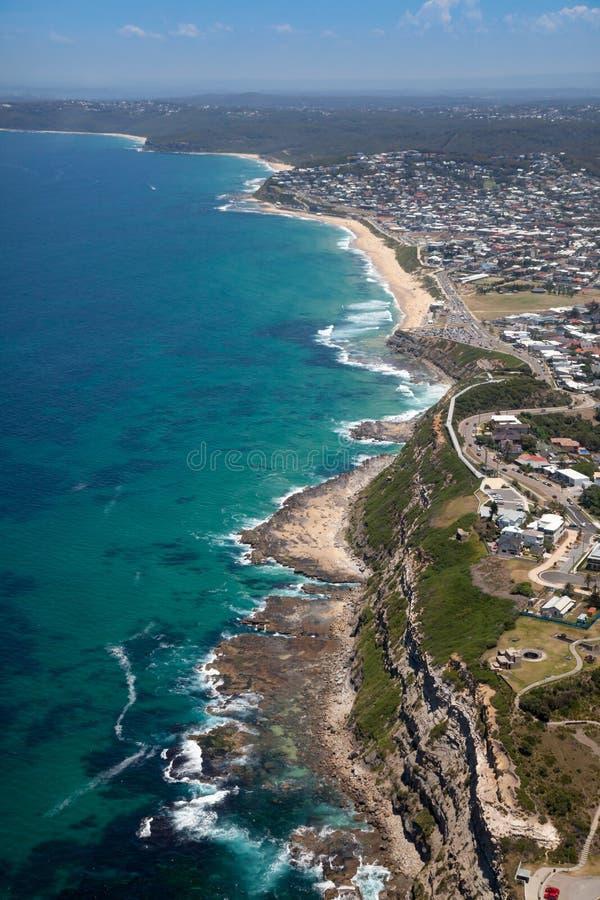 沙坝滩Merewether鸟瞰图新堡澳大利亚 免版税库存照片