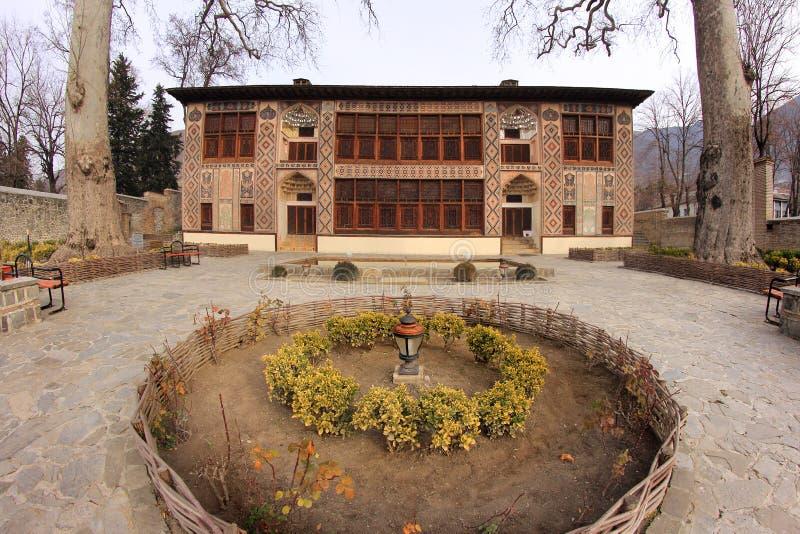 沙基Khans宫殿在沙基,阿塞拜疆 免版税库存照片