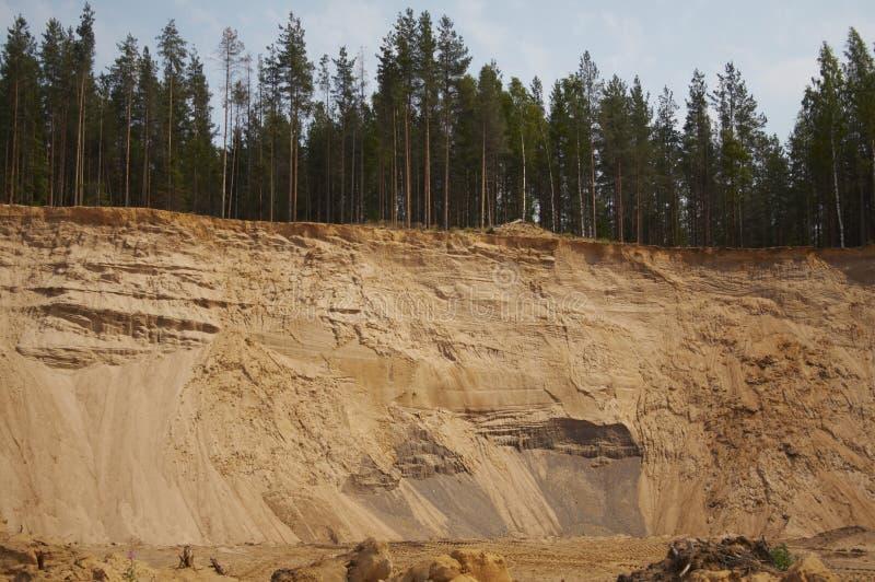 沙子事业,在森林附近的sandpit 库存照片