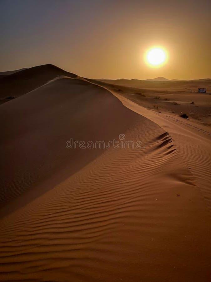 沙子和日落在沙漠撒哈拉 免版税库存照片