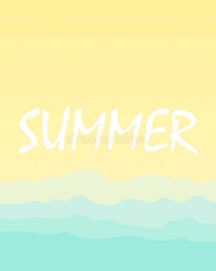 沙子和海海滩夏天背景  皇族释放例证