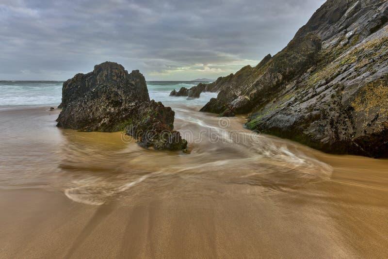 沙子和海洋日落的,自然 图库摄影