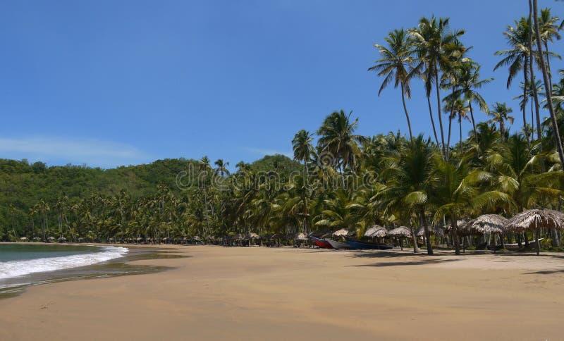 沙子在热带海滩的海船 库存照片