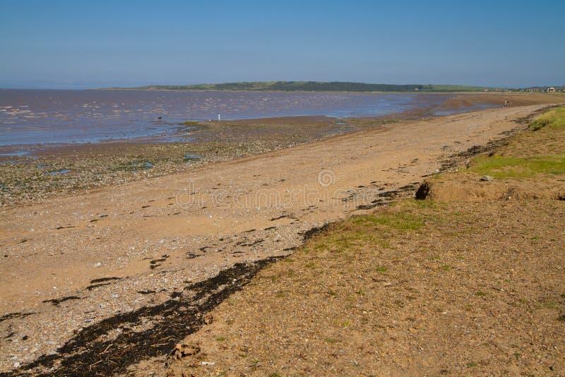 沙子在Weston超级母马附近的海湾海滩 图库摄影