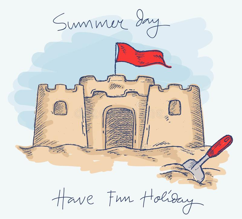 沙子城堡在海滩的夏天乐趣与颜色乱画 库存例证