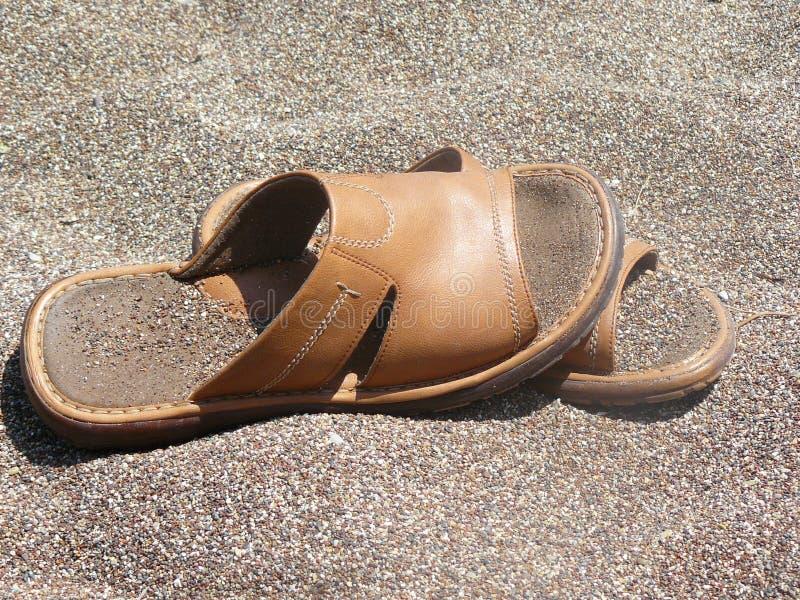 沙子拖鞋 库存图片