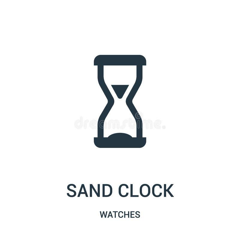 沙子时钟从手表收藏的象传染媒介 稀薄的线沙子时钟概述象传染媒介例证 r 库存例证