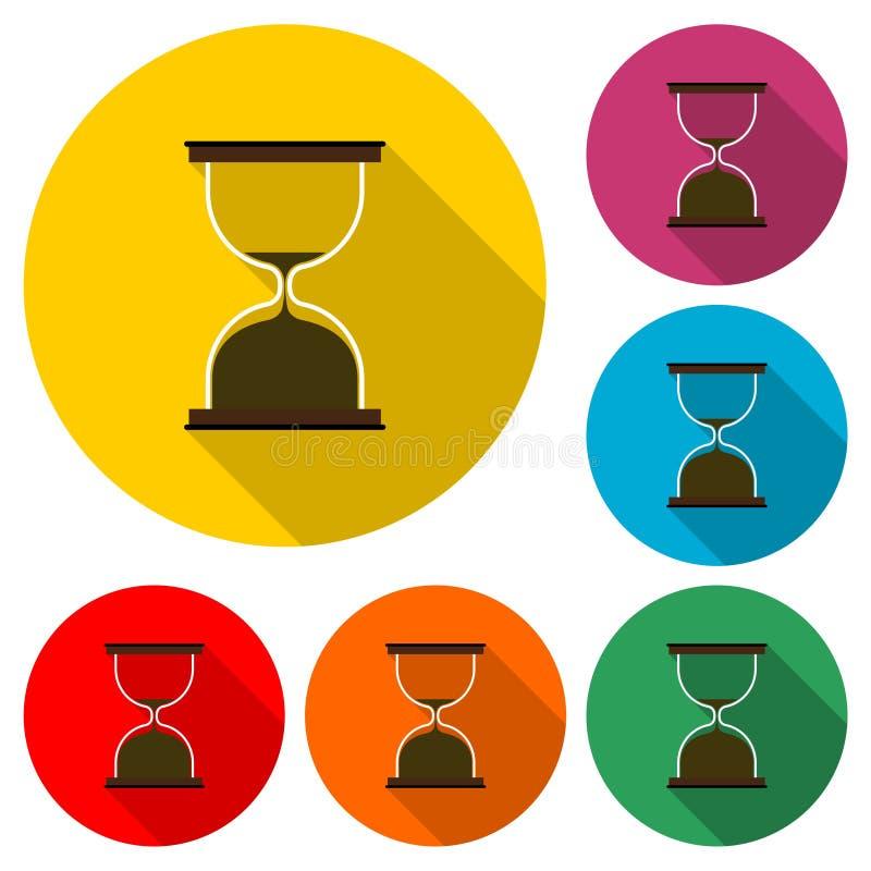 沙子时钟定时器象或商标、葡萄酒滴漏、sandglass定时器或者时钟,与长的阴影的彩色组 向量例证