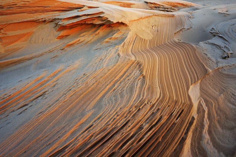 沙子样式,银色湖沙丘 免版税库存照片