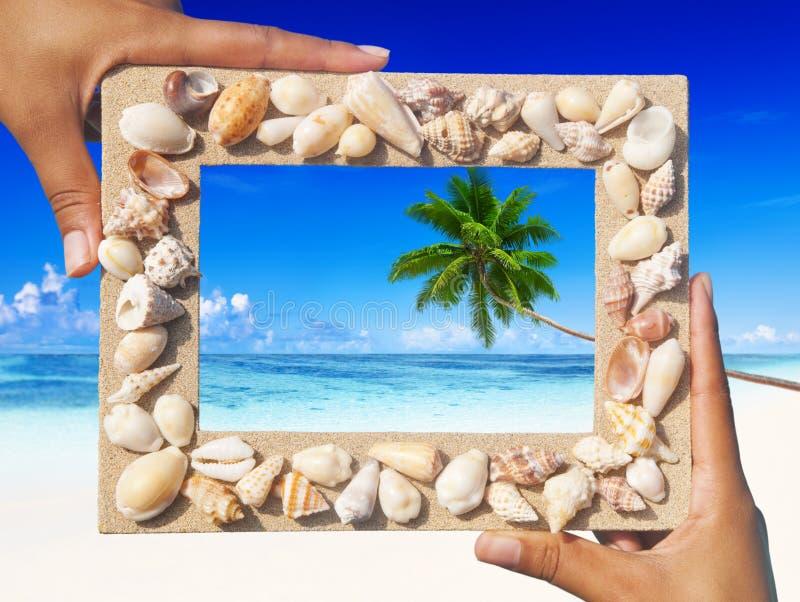沙子框架热带海滩纪念品夏天概念 免版税库存照片