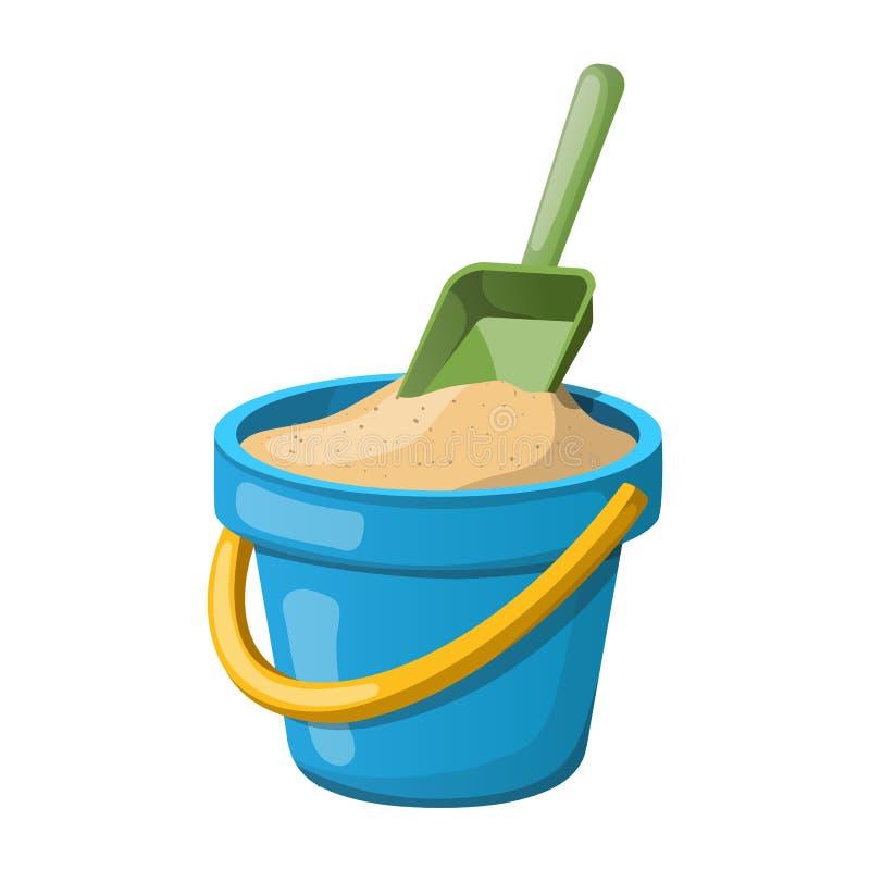 沙子桶和铁锹 也corel凹道例证向量 库存照片