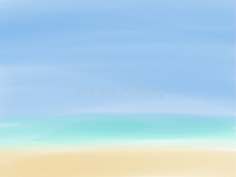 沙子海天空 向量例证