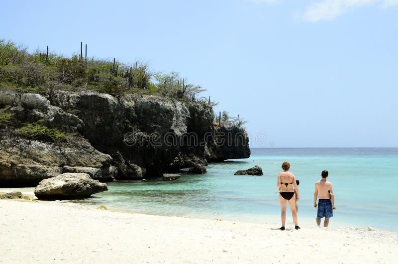 沙子海滩在库拉索岛 库存照片