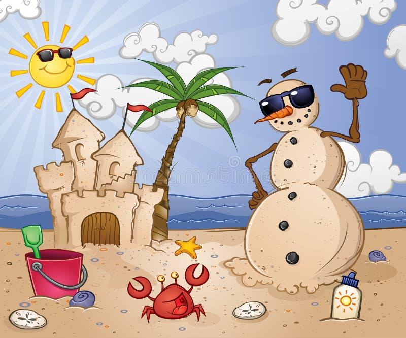 沙子海滩的雪人 皇族释放例证