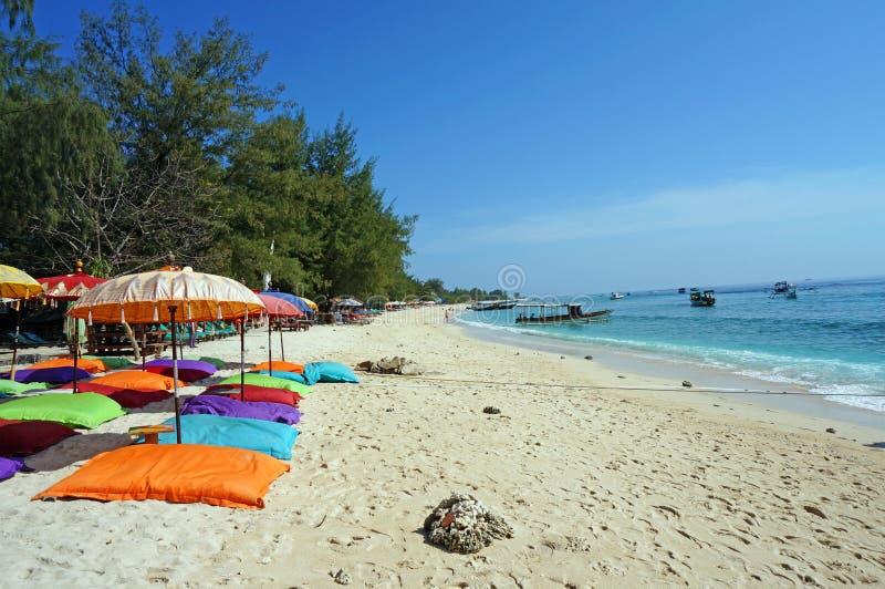 沙子海滩在Gili Trawangan 库存图片