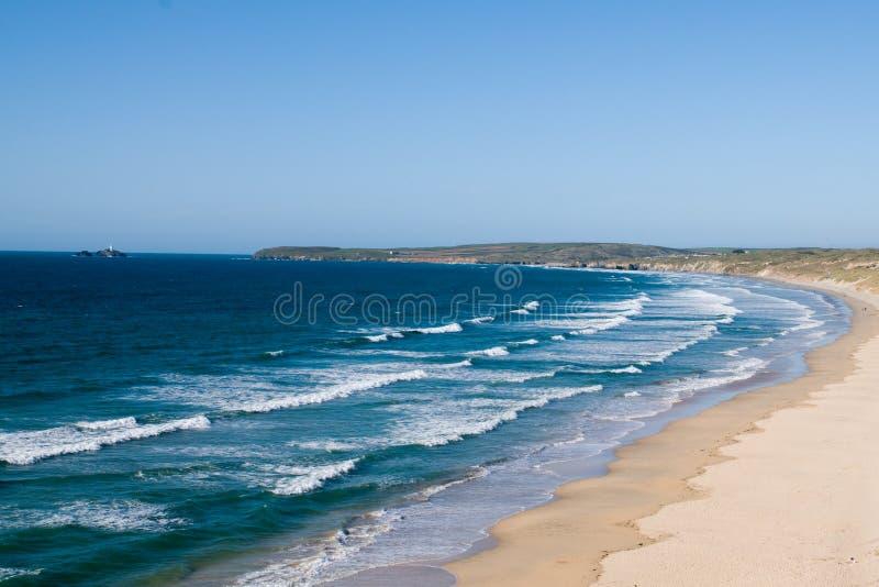 沙子海滩,康沃尔郡,英国 库存照片