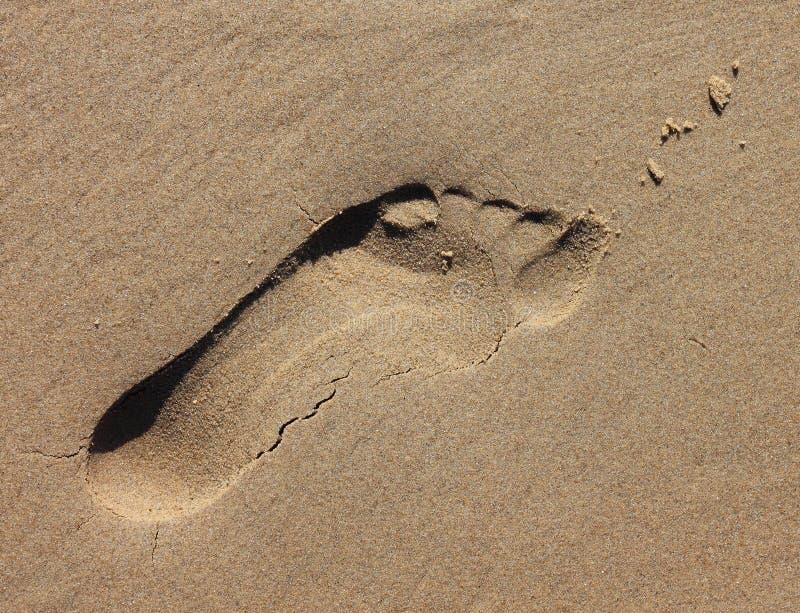沙子脚印印象 库存图片