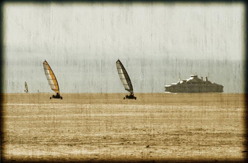 沙子航行明信片 图库摄影