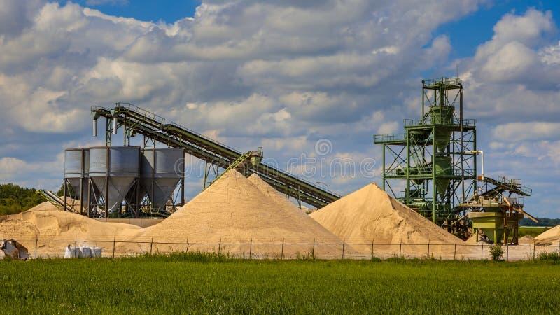 沙子采矿终端设施 免版税库存图片