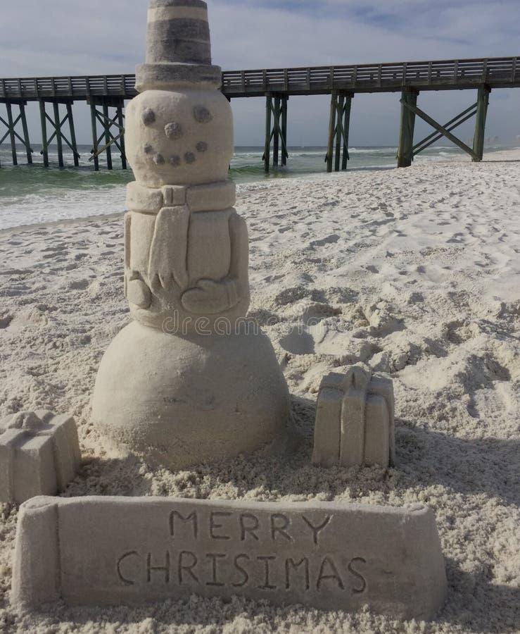 沙子雕塑雪人 库存图片