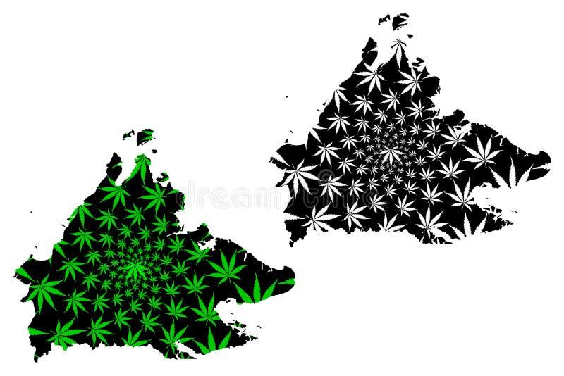 沙巴状态和马来西亚,马来西亚地图的联盟的联邦疆土是被设计的大麻叶子绿色和黑色,沙巴 库存例证