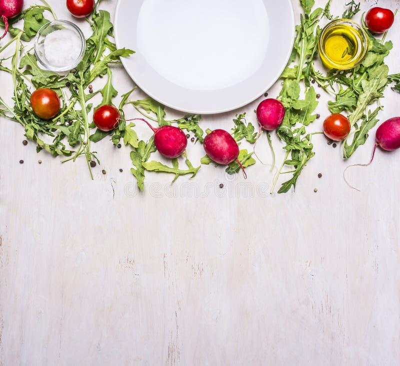 沙拉、萝卜、在边界和调味料的,板材不同的成份被计划的西红柿,文本上面的地方附近 库存照片