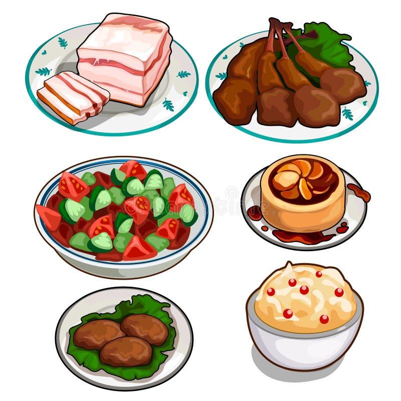 沙拉、鸡、炸肉排、布丁、奶油甜点和猪油 向量例证
