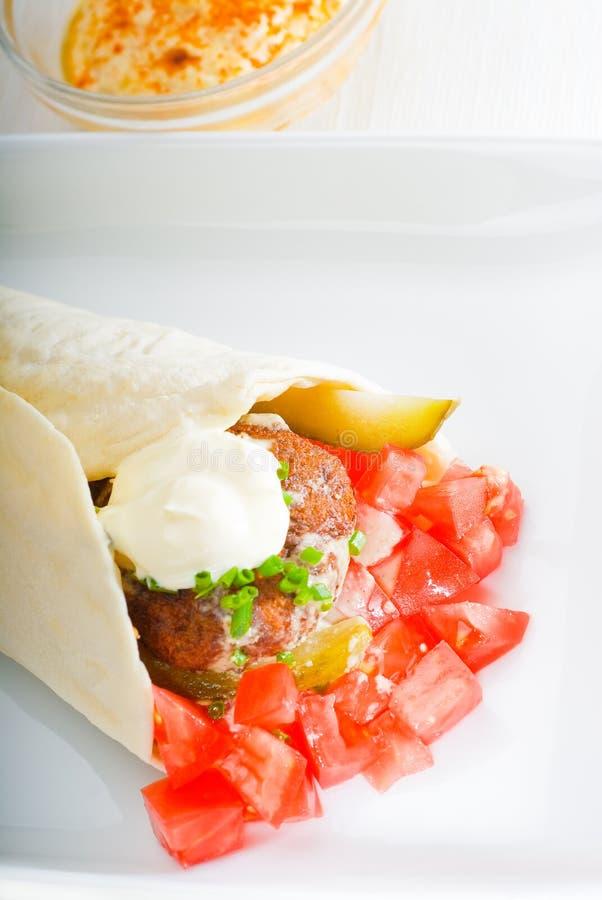 沙拉三明治换行 库存图片