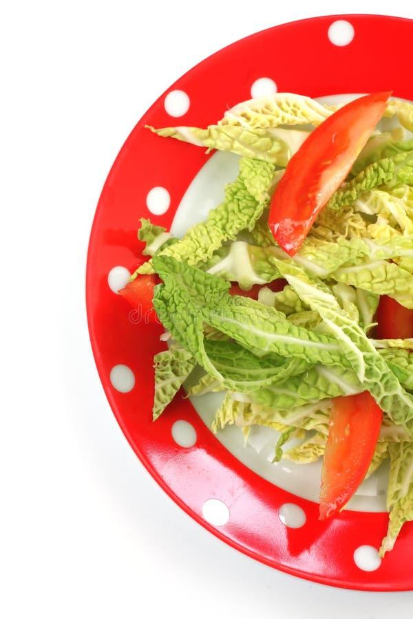 沙拉在牌照的皱叶甘蓝和蕃茄. 片式, 营养.图片