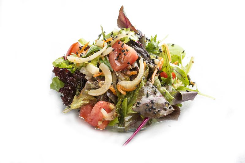 沙拉用乌贼、蕃茄和红萝卜用牡蛎调味汁 库存照片