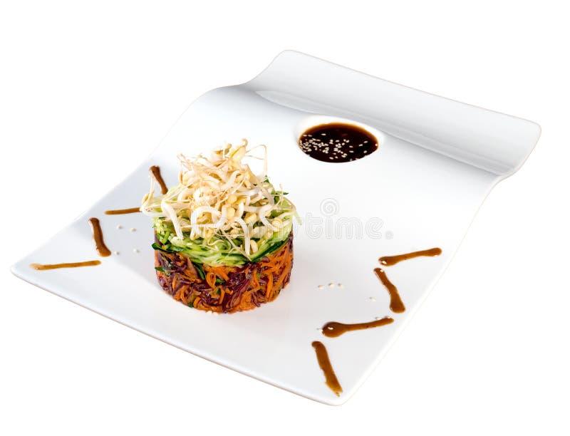 沙拉用发芽的豆 免版税库存图片