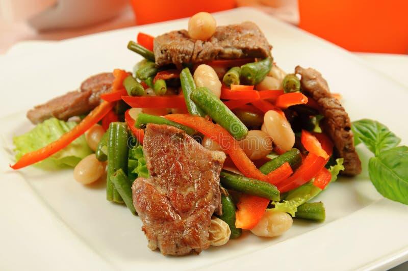 沙拉用肉和蔬菜 库存照片