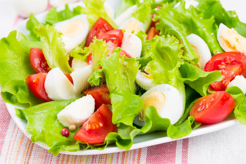 沙拉用蕃茄、无盐干酪和鸡蛋 库存照片