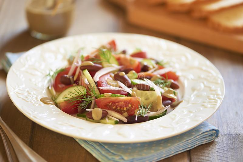 沙拉用蕃茄,黄瓜、葱、豆和金枪鱼调味 库存图片