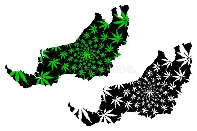 沙捞越状态和马来西亚,马来西亚地图的联盟的联邦疆土是被设计的大麻叶子绿色和黑的, 向量例证