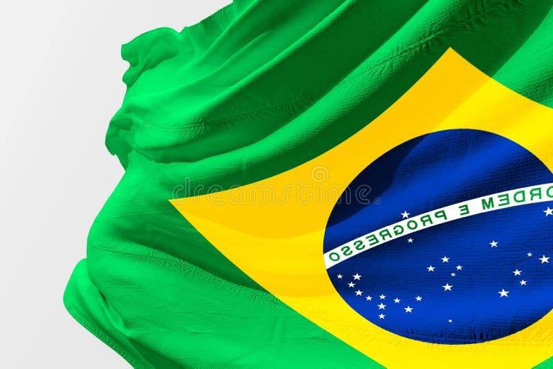 沙文主义情绪的巴西, 3D被回报的现实巴西旗子 库存图片