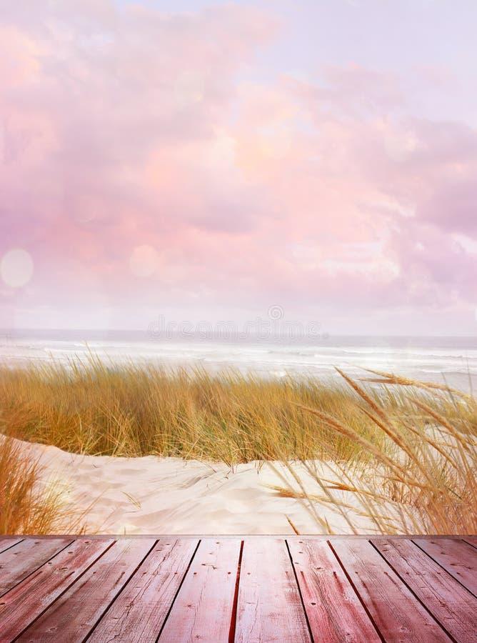 沙海木桌 库存照片
