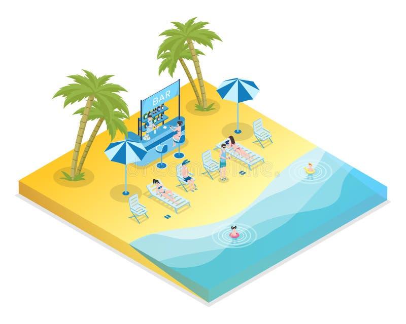 沙滩休闲等量传染媒介例证 男性和女性游人有孩子和侍酒者3D动画片的 皇族释放例证
